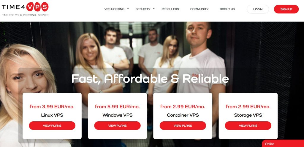 Time4VPS Hosting Site Homepage