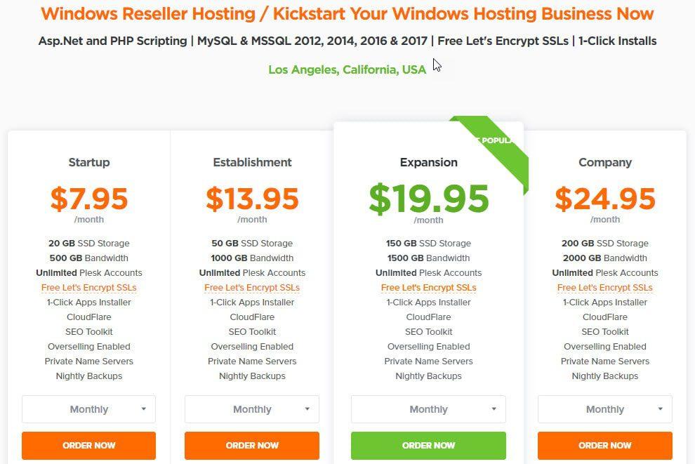 HostNamaste Windows Reseller Hosting Price
