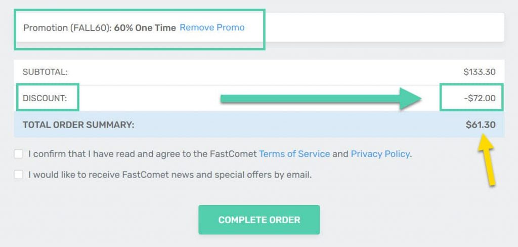FastComet Coupon Applied